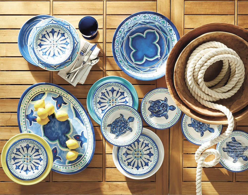 Replicated from original watercolor renderings, the Venetian-inspired patterns that artfully accent this outdoor dinnerware collection provide a creative pop of blue and white to an outdoor space. Use it indoors or outdoors. Photo: Frontgate