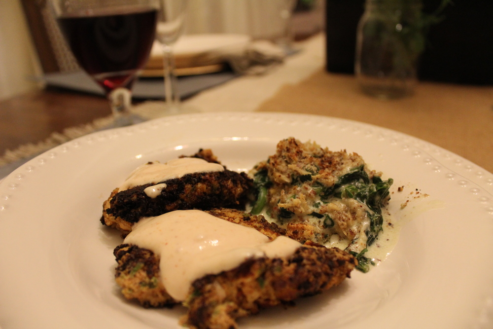 Smokey Salmon Cakes and Spinach Gratin