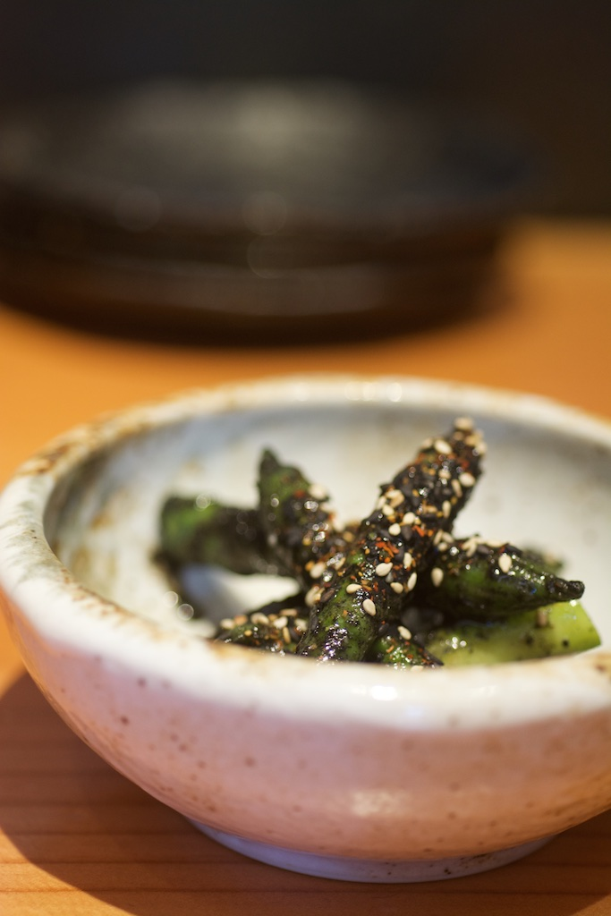 chilled asparagus with black sesame