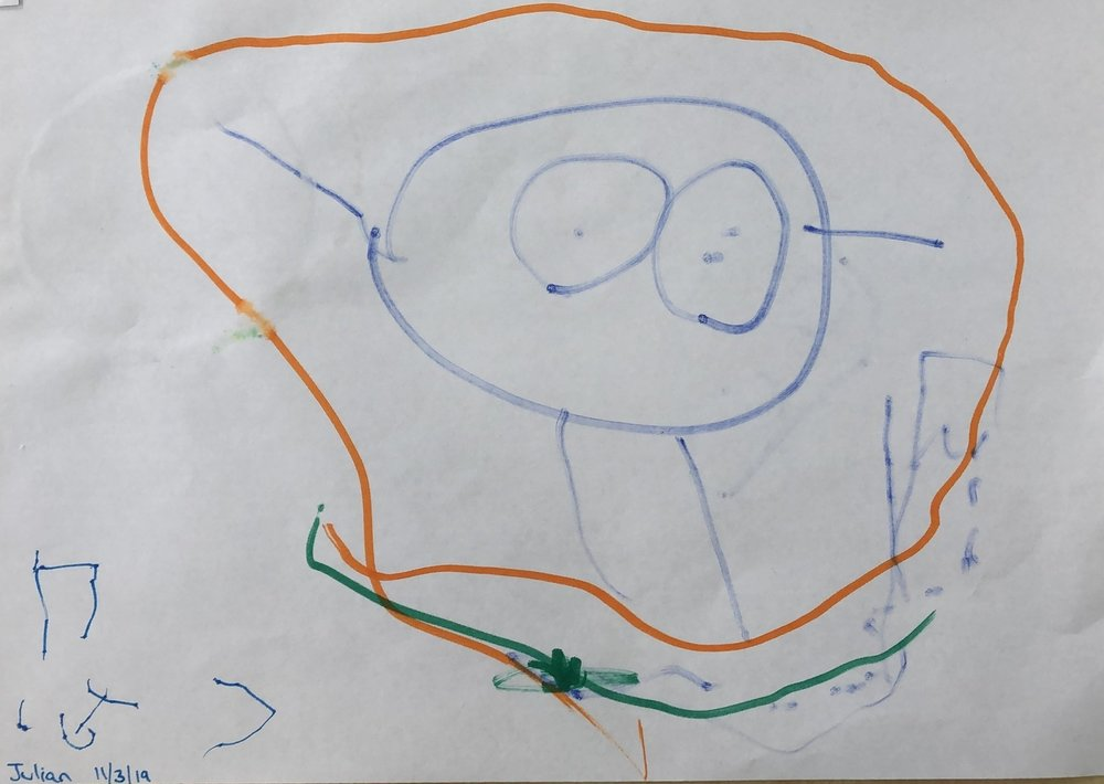 """Julian (5 Years Old) graphical depiction of what the word """"wonder'"""" means to him"""