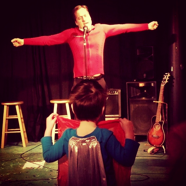 Super Boy prepares Bobby's cape at TheatreSouth, Memphis