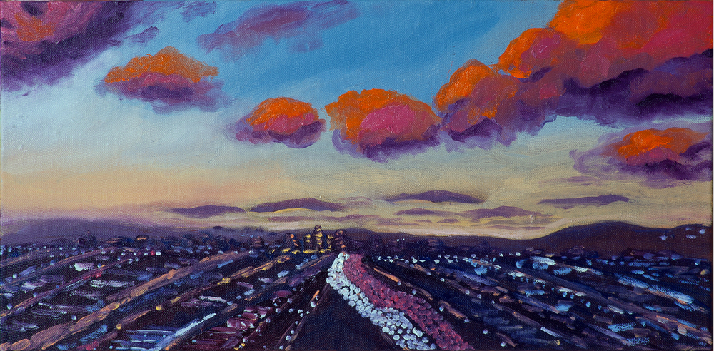 "Anniversary Sunset | oil on canvas 10"" x 20"""
