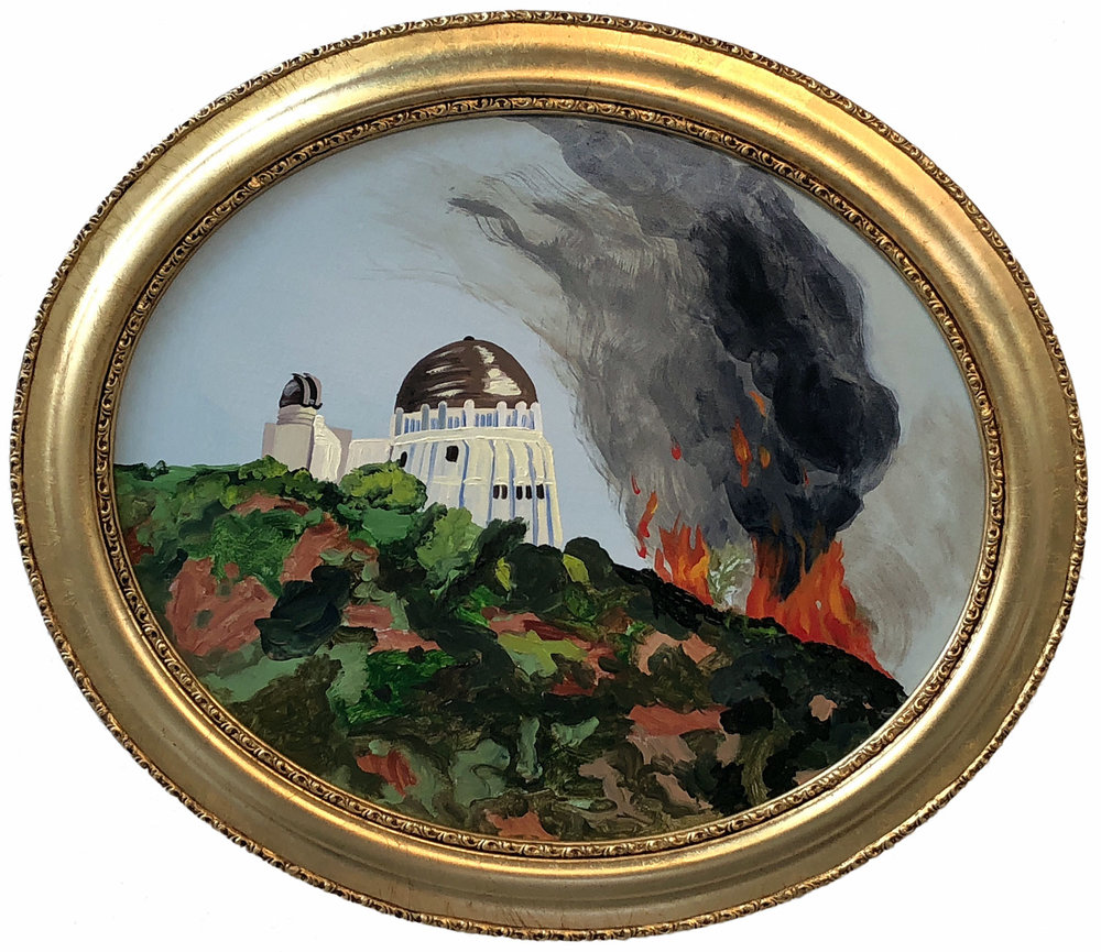 """Griffith Observatory Wildfire   oil on canvas 20"""" x 24"""""""