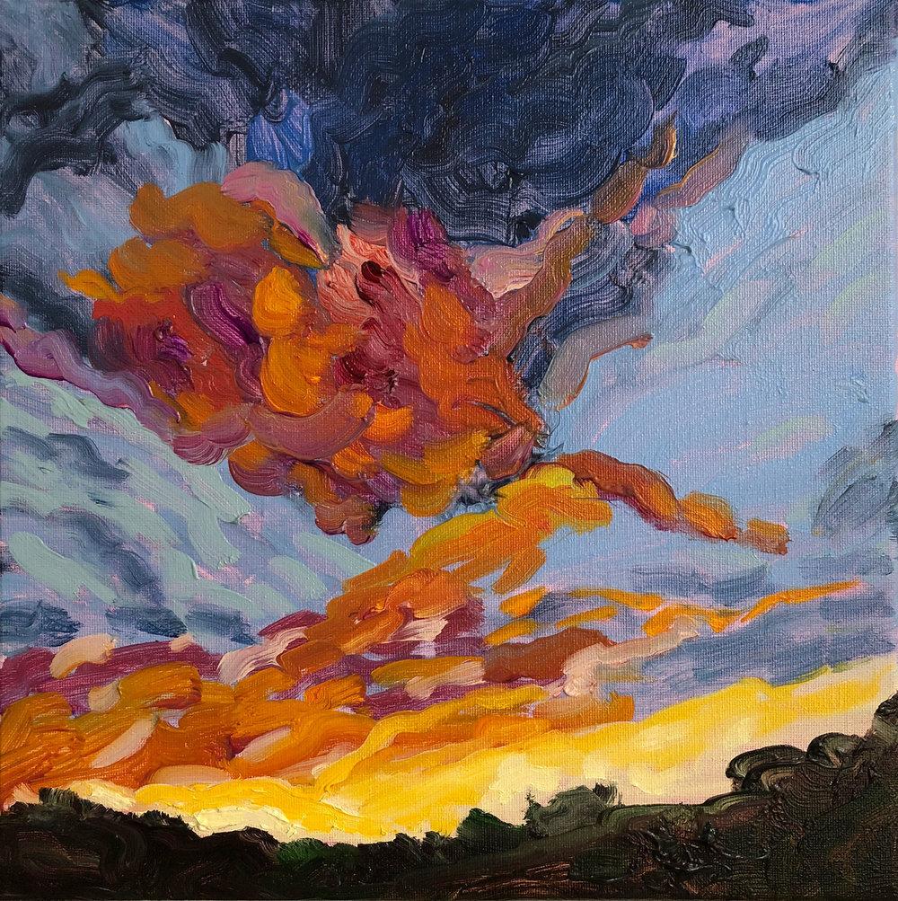 """LA Sunset   oil on canvas 12"""" x 12"""""""