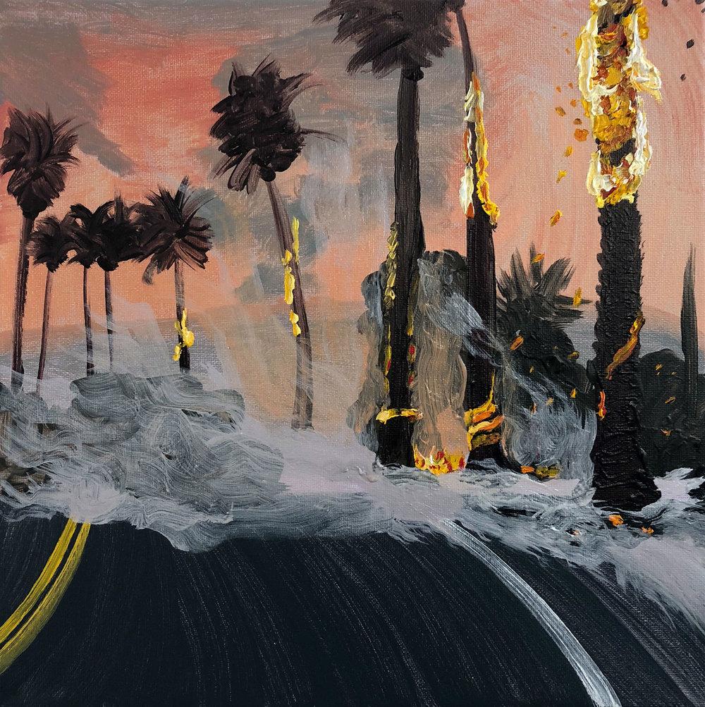 """LA Wildfire   oil on canvas 12"""" x 12"""""""