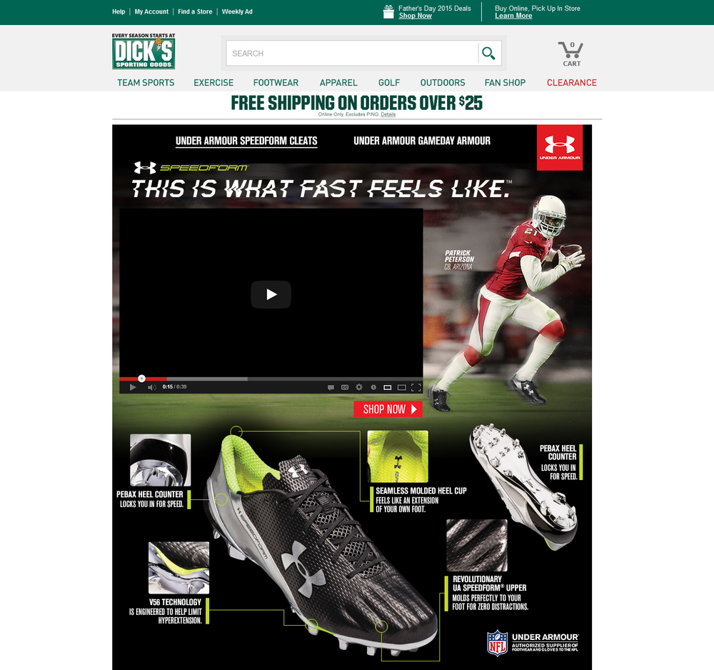 Under Armour - Speedform Football - Dicks Sporting Goods Landing Page
