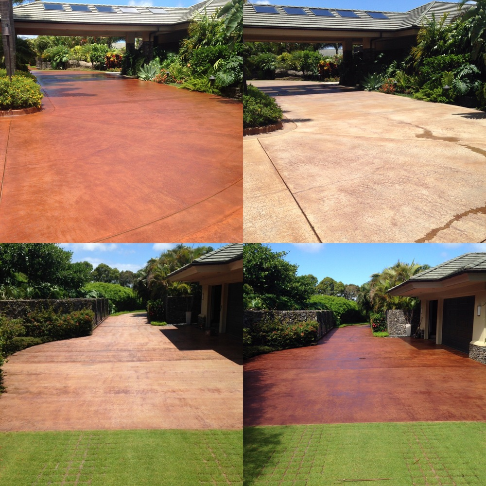 Concrete driveway in Kapalua Plantation Estates before & after