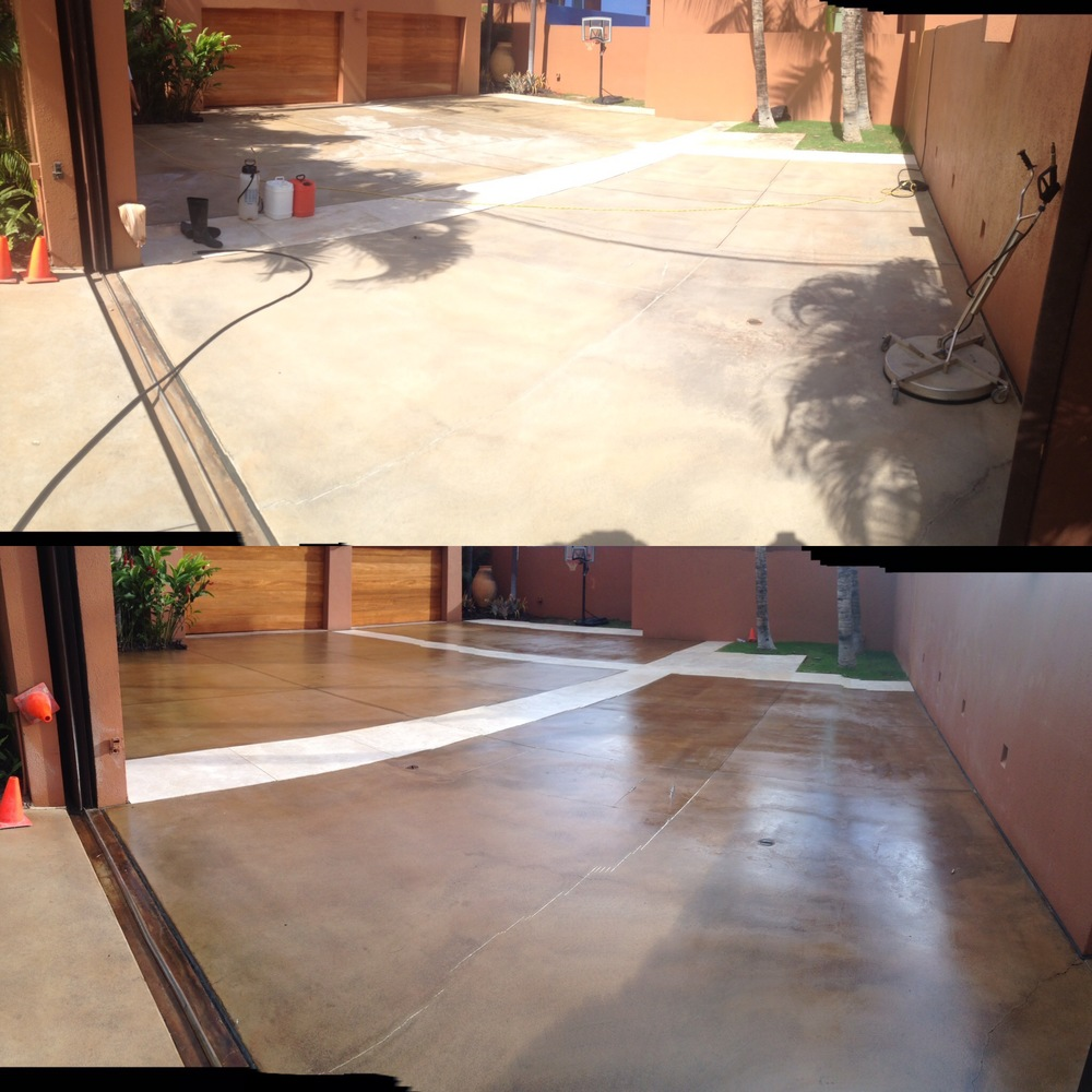concrete driveway before & after