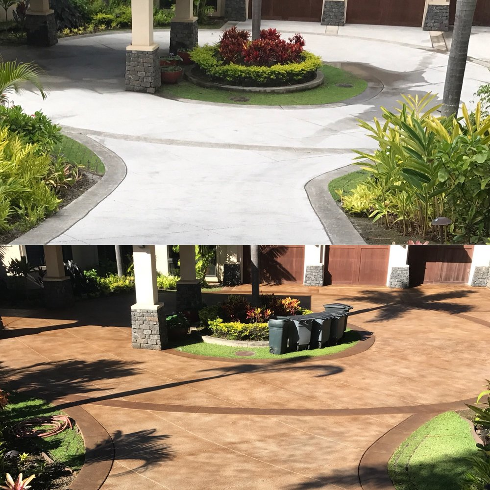 before / after stained driveway in kapalua plantation estates