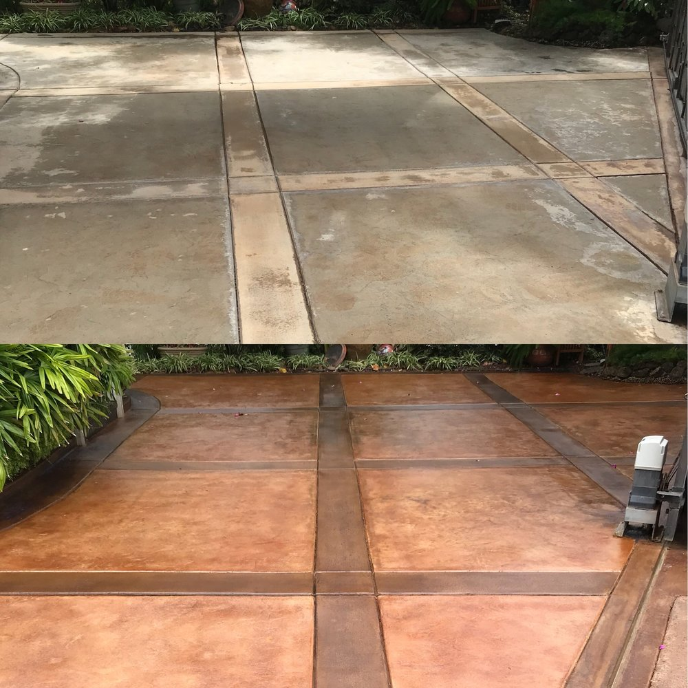before / after concrete cleaning, staining, & sealing with a walnut border & rust brown squares