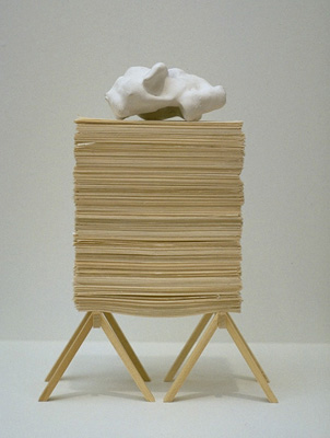 Being Careful Not to Topple, Stack Paper on Sawhorses, 1997