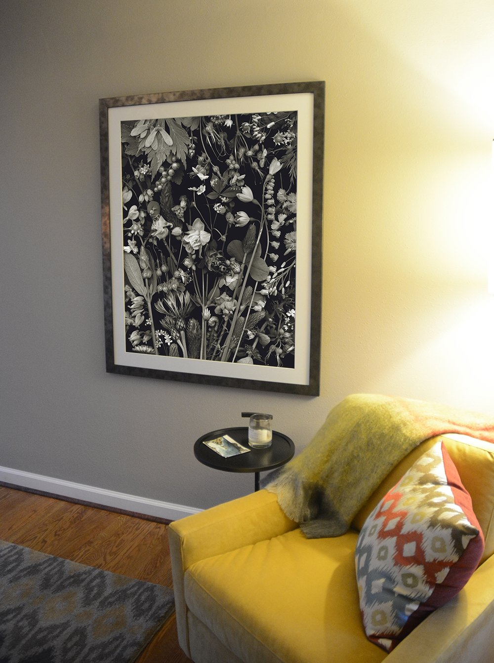 Superbusy with Clover - A large black and white piece. I love it when collectors choose to hang my work in their bedrooms, the first piece of art they see upon waking. In the home of R&C in the uber-flora fabulous neighborhood of Alameda ridge.Edition 1/3, 31