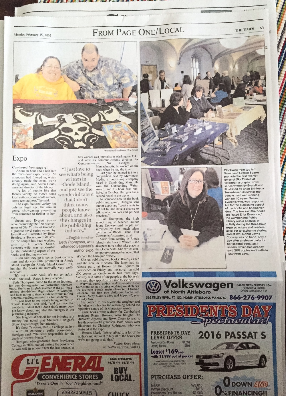 As seen in the Pawtucket Times February 15, 2016 Click Here