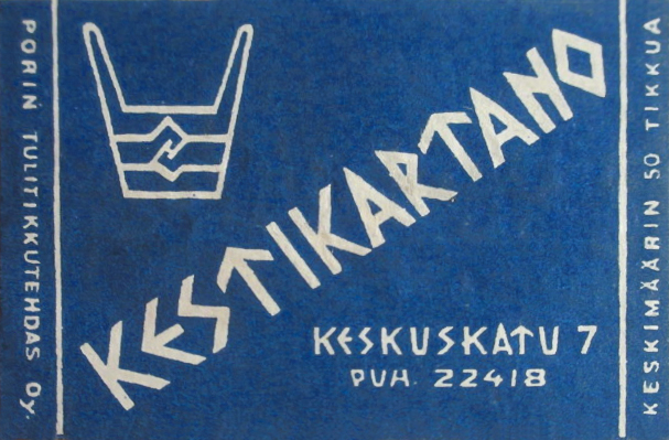 Kestikartano matchbox with the restaurant logo from 1948, graphic designer unknown. Private collection.