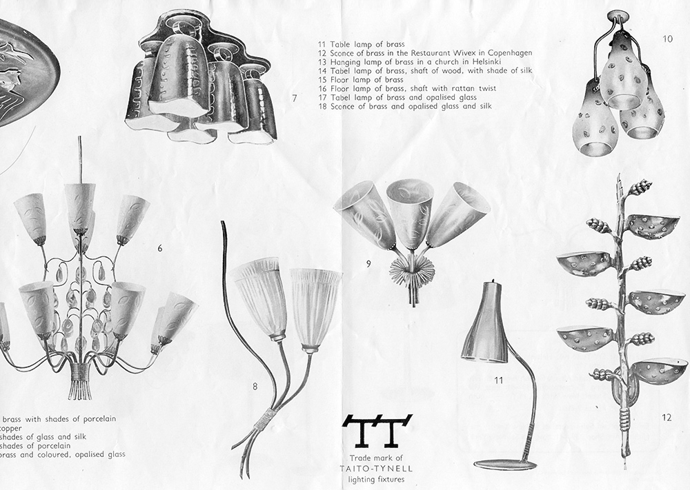 "Brass mounted ceiling lamp (nr.7) with five hanging ""cow bells"" was originally designed for the Restaurant Kestikartano in 1946. Image from a Taito-Tynell catalog, early 1950s."