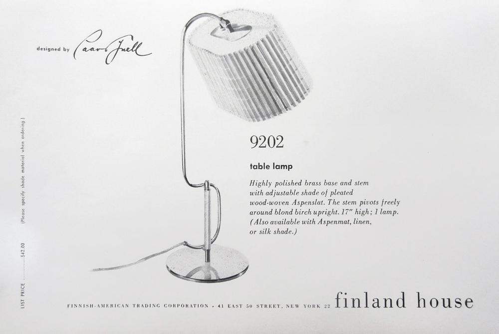 The Finland House catalog featuring table lamp model 9202 by Taito Oy.