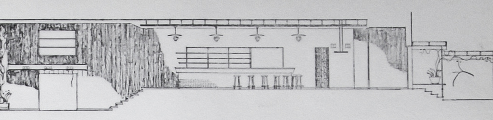Scale model sketch of the restaurant space by Aarne Ervi.