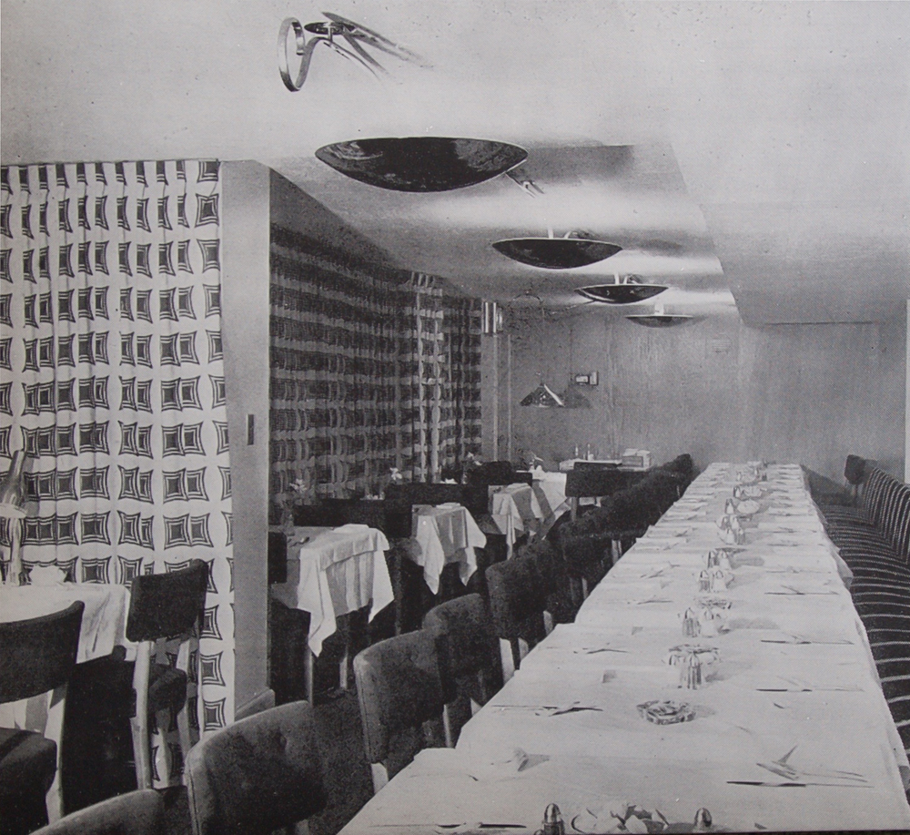 The main restaurant hall, 1947.
