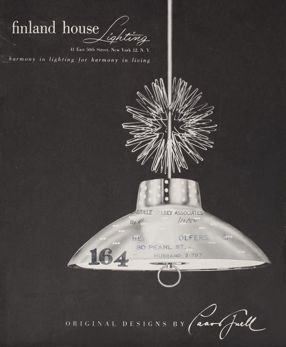 The Finland House catalog cover, late 1940s, featuring ceiling lamp model nr.9081.