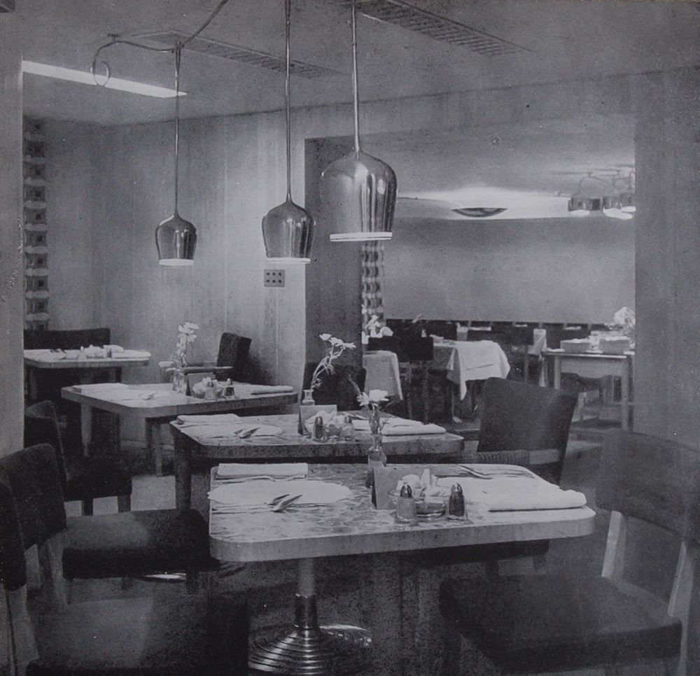 The upper restaurant balcony with custom-made furniture by Ilmari Tapiovaara, 1947.