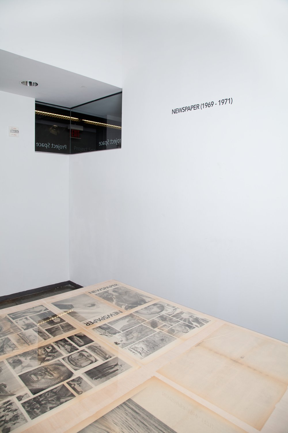 Detail; NEWSPAPER (1969 - 1971) Plywood under Plexi,  The Project Space , 2017