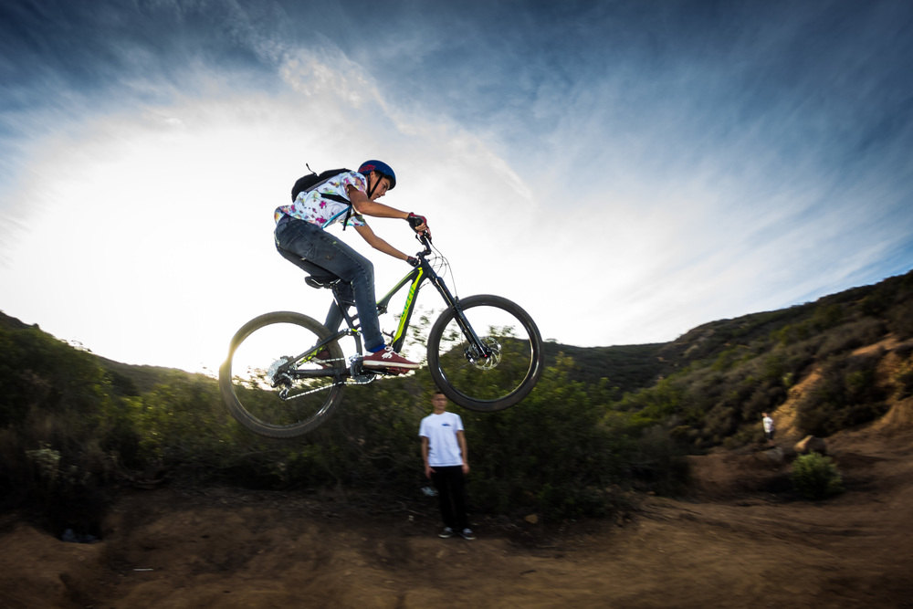 I didn't catch this kid's name. He used to race BMX and this was his first time on hitting jumps on a mountain bike. Not too shabby for a newbie...