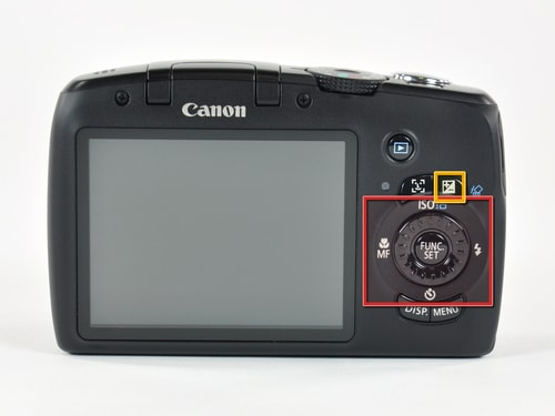 Back of the Canon PowerShot SX120 IS showing camera buttons.