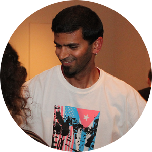 Arvind Thyagarajan  is a groover. As an assistant instructor with Rueda Con Ritmo, he knows how important that pause on 4 is, but it's really that pause on 8 he dwells on with relish. 1-2-3-oooyeah-5-6-7-ohmylord. He was born a dancing monkey and is slowly but surely working his way into becoming a dancing human sapien sapien. That's human double sapien, single monkey, triple step, quadruple booyah, pero con ponche! He first learned casino from the Cubans, and since then he's also loved dancing, performing, and teaching with the Rueda Con Ritmo crew. Besides being a dance instructor, Arvind is also a visual artist, designer, illustrator, and user experience professional.