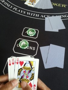 The player exchanges two cards for the fee of 1x ANTE