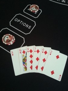 6 Card hand with 2 x Flush A,Q,9,6,7,2