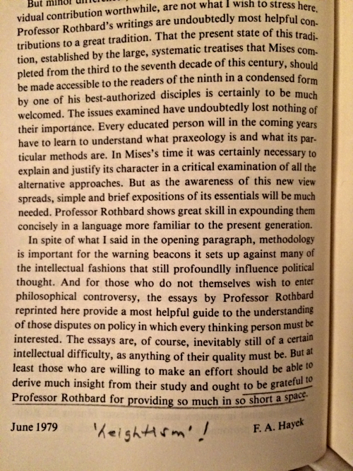 [Page from the Introduction, written by F.A. Hayek.] This copy was purchased used from the Mises Institute. As you can see, it contains a humorous comment in the margins; who wrote this is unknown.