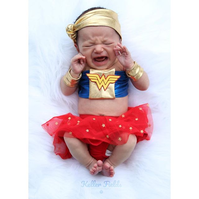 Currently hanging out with my favorite girl and giggling at this picture! Even Wonder Woman has to cry sometimes! 😂