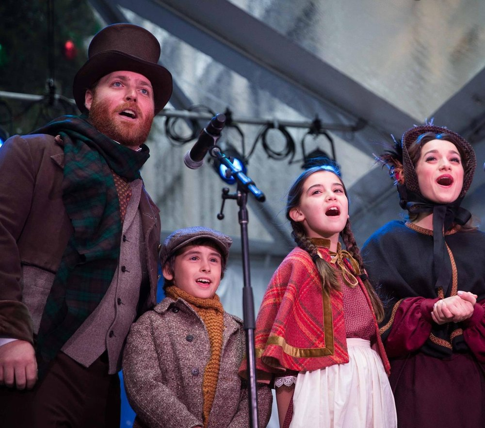 The cast of A CHRISTMAS CAROL sings at the 93rd Annual NYSE Tree Lighting