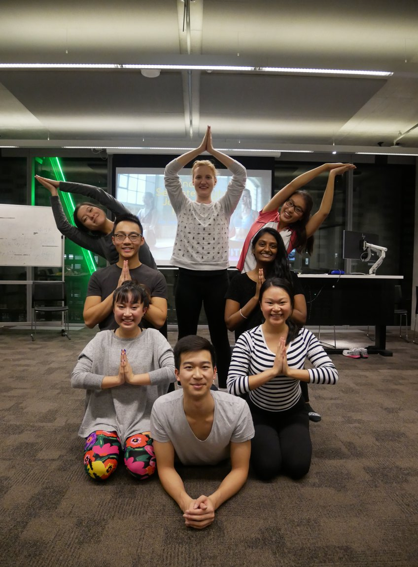 Thanks Enactus UTS for yoga photography. Cobra pose, prayer pose and moon crescent pose.