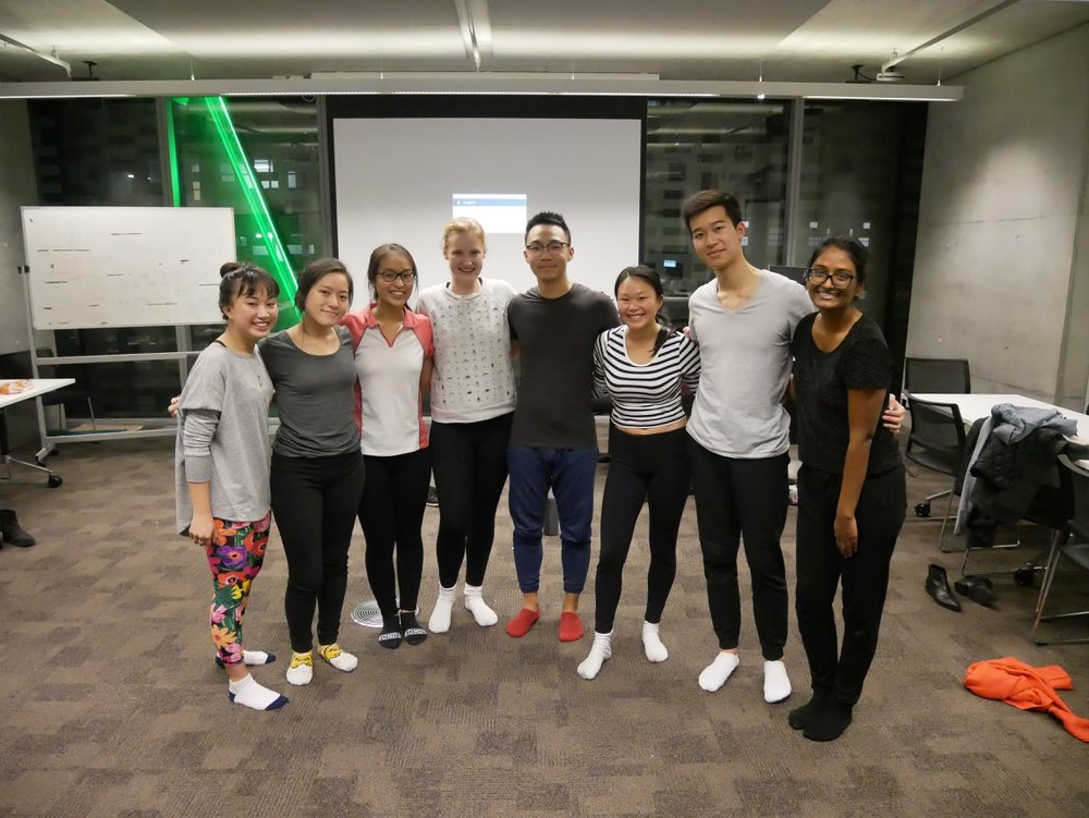 We cleared away the classroom and did some yoga for stress relief. UTS June 2018 Enactus.