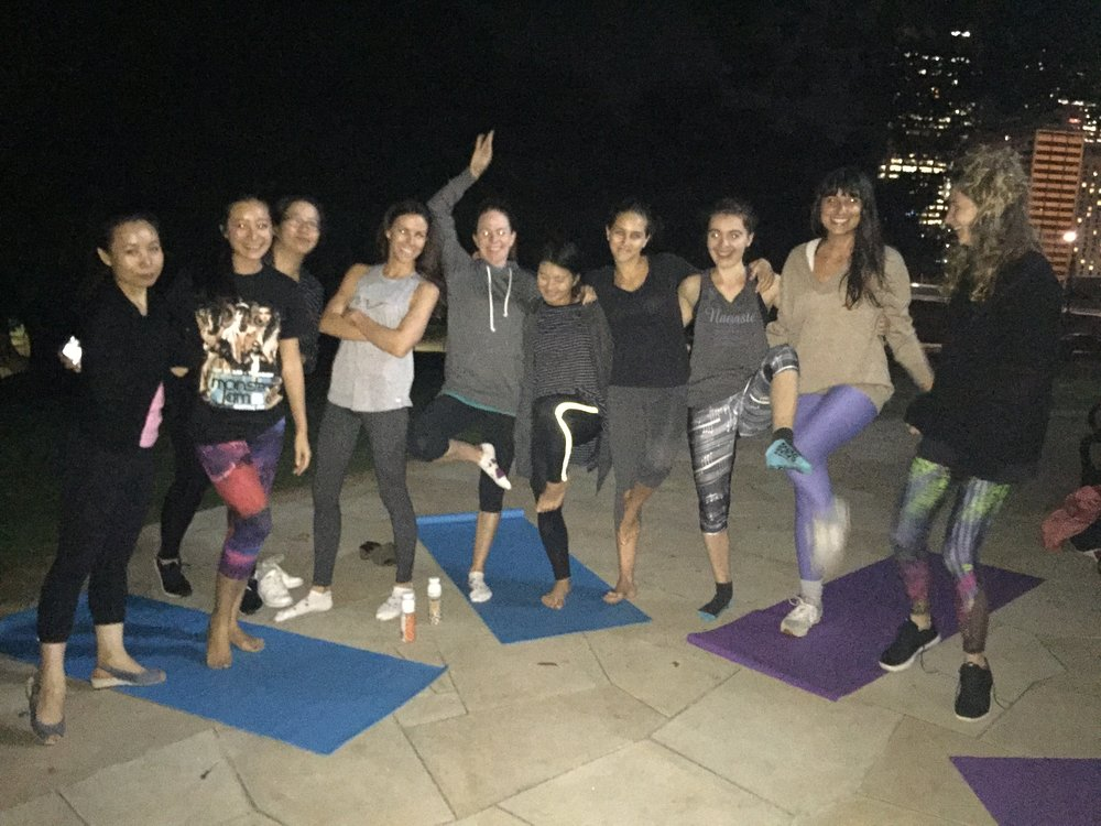 Evening yoga class for a start up company at Observatory Hill.