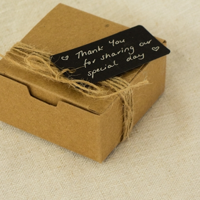 Craft Box Bonbonniere With Rustic Twine