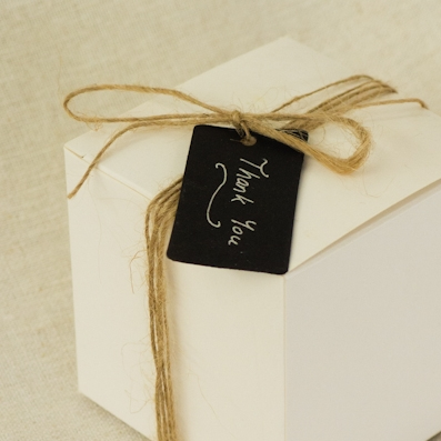 Simple White Bonbonniere Box With Twine and Personalised Tag