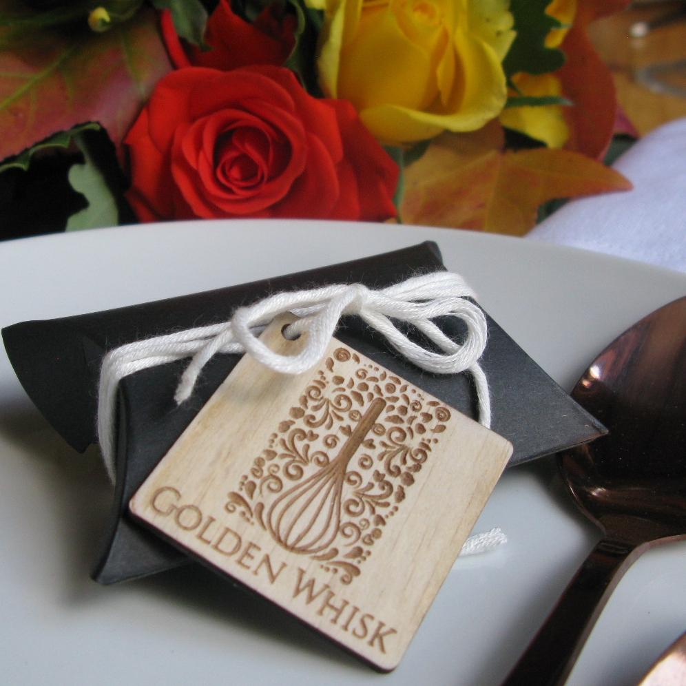 Matte Black Bonbonnerie Box With Laser Cut Wooden Tag