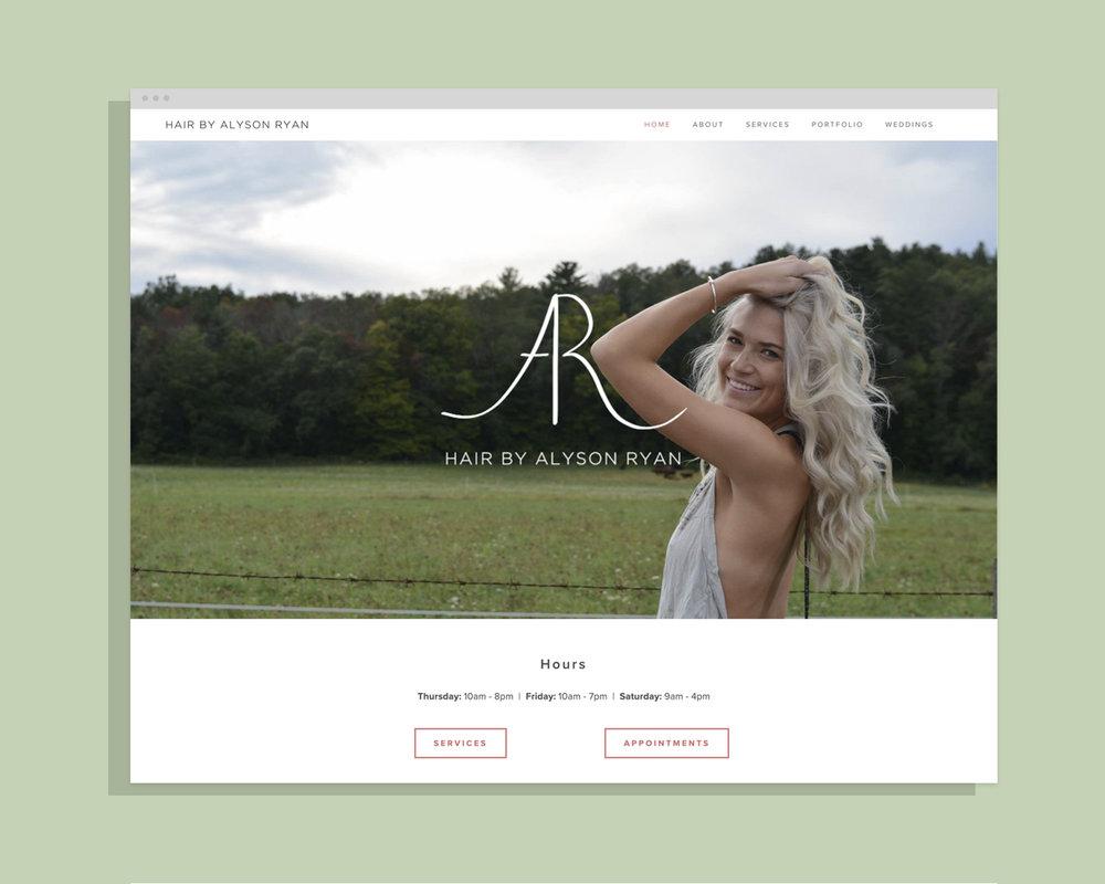Hair By Alyson Ryan - Logo + Branding + Website