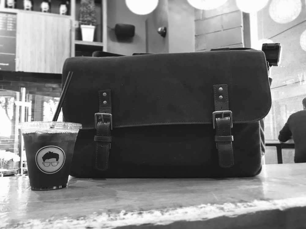 My ONA Union Street bag. Photographed during a coffee break at Gregory's Coffee in NYC during NYFW s/s 2018