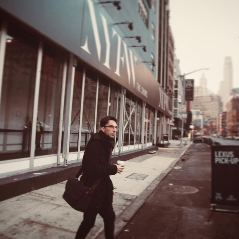 Wearing the Union Street bag outside Spring Studios in New York City.