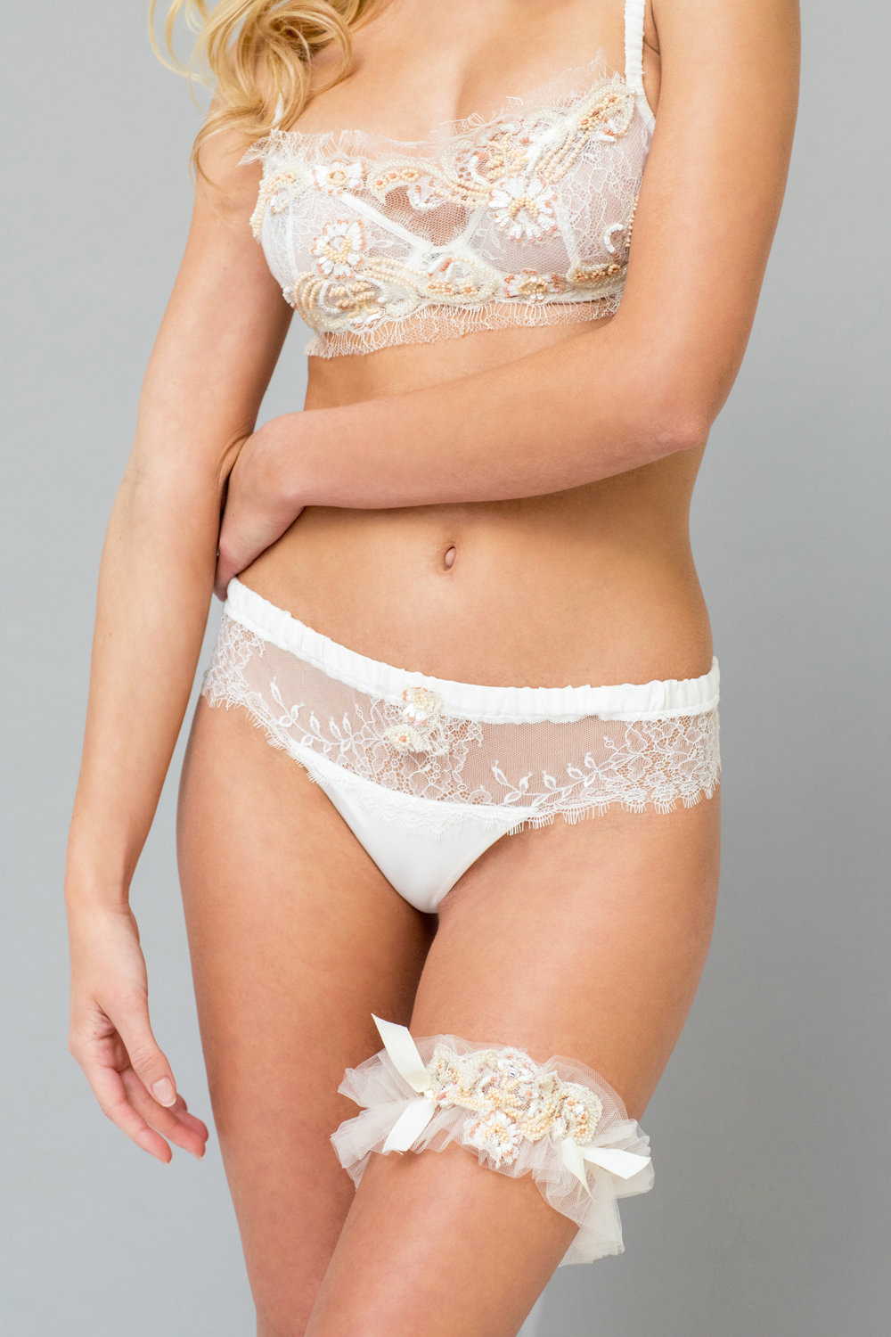 Fleur du Sol Floral Beaded French Lace Set