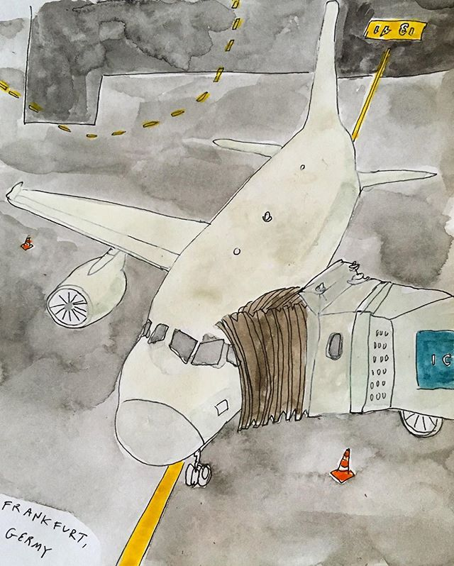 @lauraashleycollabs may be my new love, but old habits die hard and #visualdiary is still going strong. #travel#planes#watercolor#イラスト#水彩画#旅行#飛行機