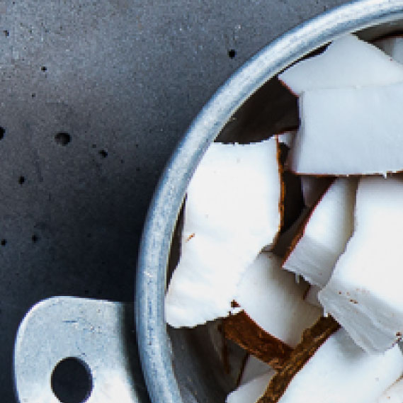 Coconut shards in blender for smoothie making