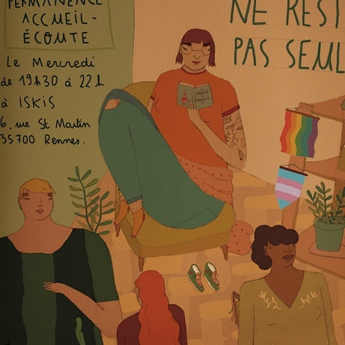 Here is a poster I'm working on for Rennes LGBTI+ center. Don't stay alone. Come in and have a warm tea with us. 💚 . Ne restez pas seul.e. Venez partager un thé chez chaud au centre LGBTI+ de Rennes.💜 . . . #art #illustration #watercolor #instaart #posterdesign #lgbt #lgbti #notalone #queer #queerart #warmtea #iskis #youarewelcome