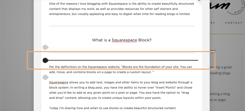 How to Effectively Use Squarespace Blocks to Create Beautiful Blog Posts | Insert Points