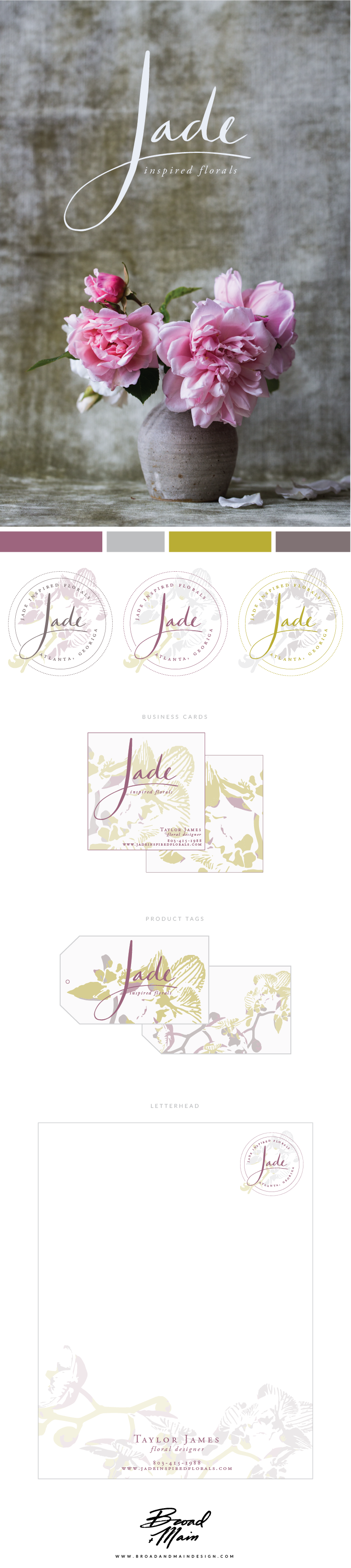 Jade | Inspired Florals Brand Design by Broad + Main