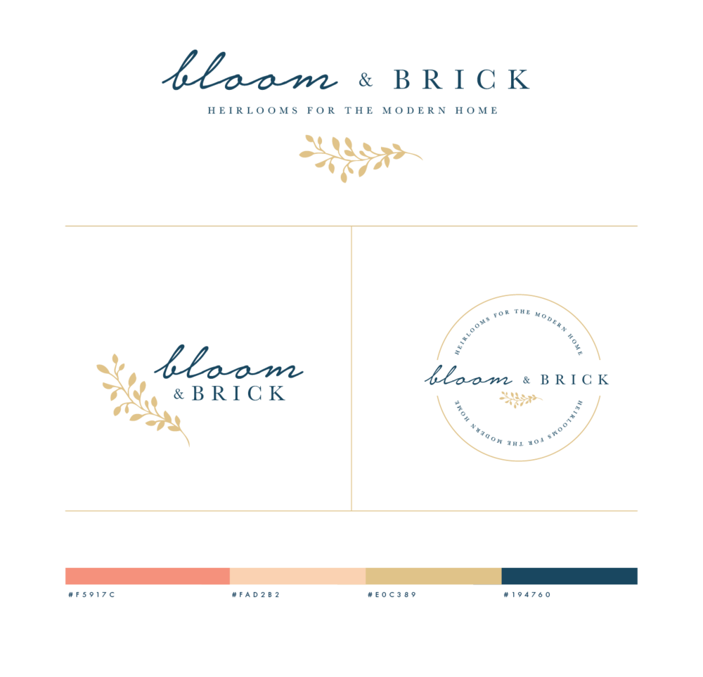 Bloom and Brick Custom Logo and Color Palette