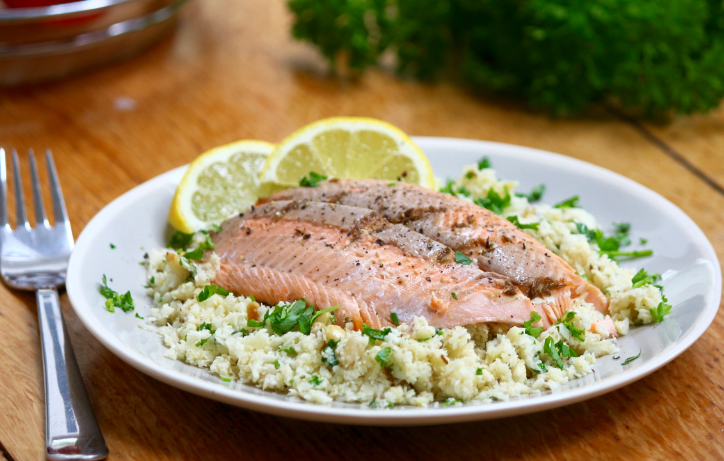 Cauliflower Couscous, Cumin and Coriander Trout